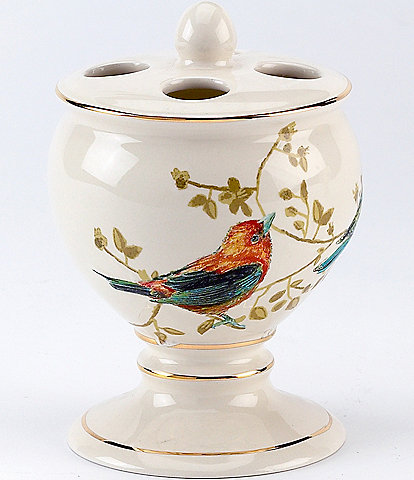 Avanti Linens Gilded Birds Ceramic Toothbrush Holder
