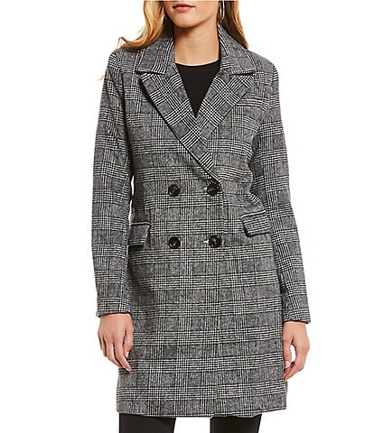 Avec Les Filles Double Breasted Glen Plaid Notch Collar Coat