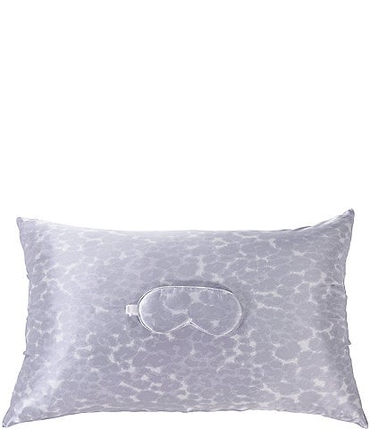 AVELINE Silk Grey Animal Print Pillowcase & Eye Mask Set