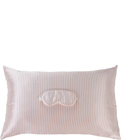 AVELINE Silk Pink Striped Pillowcase & Eye Mask Set