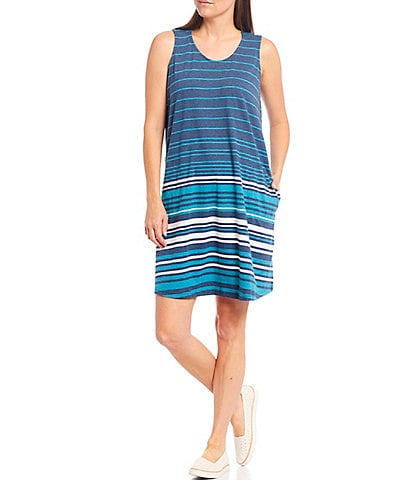 Aventura Carrick Stripe Scoop Neck Sleeveless Dress