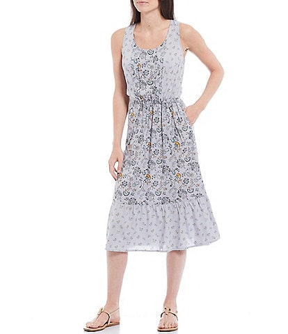 Aventura Westlyn Scoop Neck Sleeveless Peasant Tiered Floral Poplin Midi Dress