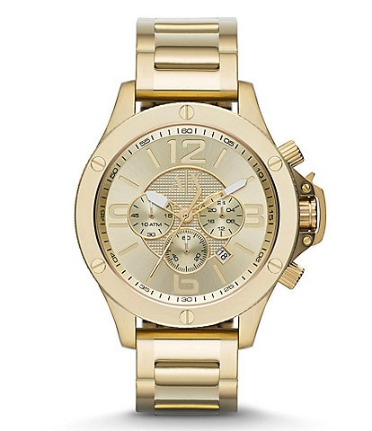AX Armani Exchange Brushed Goldtone IP Stainless Steel Chronograph Watch