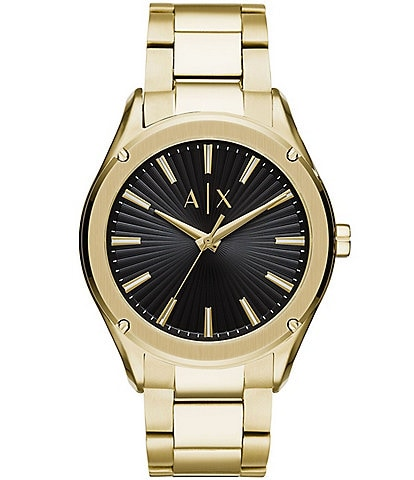 A/X Armani Exchange Men's Fitz Three-Hand Gold-Tone Stainless Steel Watch