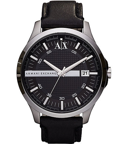 AX Armani Exchange Smart Leather Strap 3 Hand and Date Watch