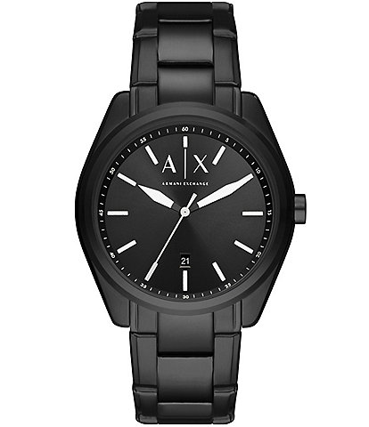A/X Armani Exchange Three-Hand Date Black Stainless Steel Watch