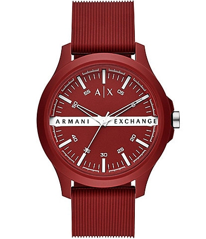 A/X Armani Exchange Three-Hand Red Silicone Strap Watch