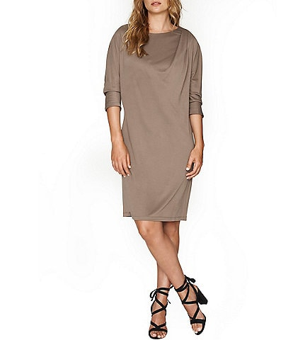 b new york Conscious Knit Jersey Side Draped Shoulder Shift Dress