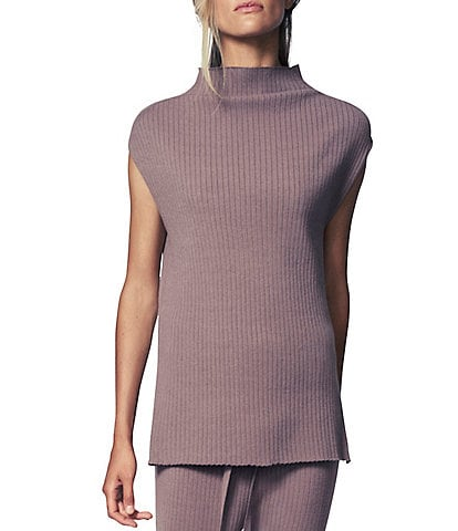 b new york Ribbed Fine Gauge Funnel Neck Cap Sleeve Hi-Low Sweater Tunic