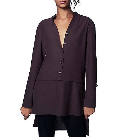 b new york Y-Neck D-Ring Roll Sleeve Hi-Low Square Hem Tunic