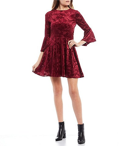 B. Darlin 3/4 Bell Sleeve Burnout Velvet Fit-and-Flare Dress