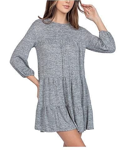 B. Darlin 3/4 Puffed-Sleeve Tiered Knit Shift Dress