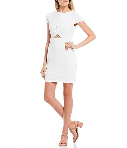 B. Darlin Cap Sleeve Cut-Out-Waist Sheath Dress