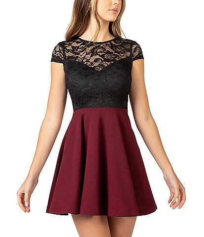B. Darlin Cap Sleeve Lace Bodice Colorblock Skater Dress