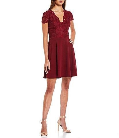 B. Darlin Cap-Sleeve Lace/Scuba Crepe Fit And Flare Dress