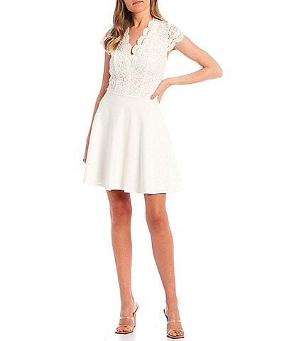 B. Darlin Cap-Sleeve Scalloped V-Neck Crochet Lace Bodice Skater Dress