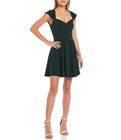 B. Darlin Cap-Sleeve Sweetheart-Neck A-Line Dress