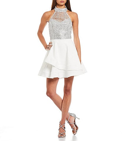 B. Darlin Chain-Lace-Overlay Bodice and Scuba Crepe Double Hem Skirt Fit And Flare Dress