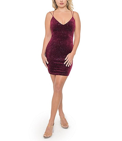 B. Darlin Double Spaghetti Strap V-Neck Glitter Velvet Bodycon Dress