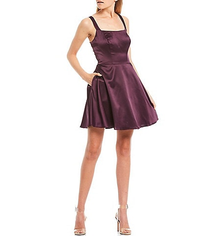 B. Darlin Double Strap Bar-Back Satin Fit-and-Flare Dress
