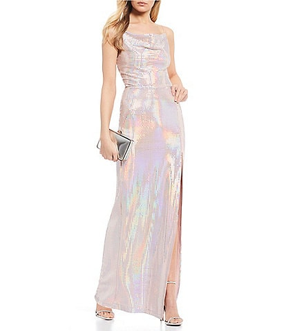 B. Darlin Drape Neck Side Slit Iridescent Sequin Long Dress