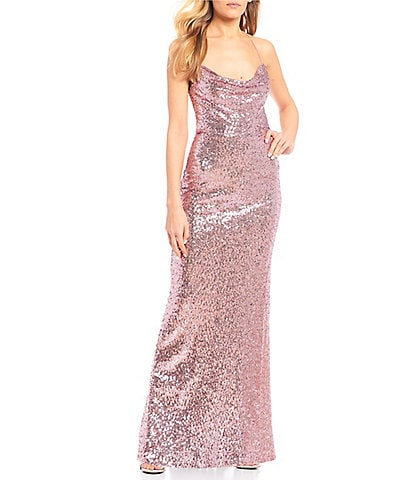 B. Darlin Drape Neck Sequin Long Dress