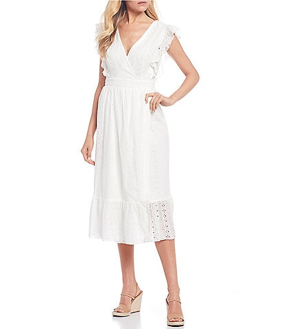 B. Darlin Eyelet Ruffle Faux-Wrap Midi Dress