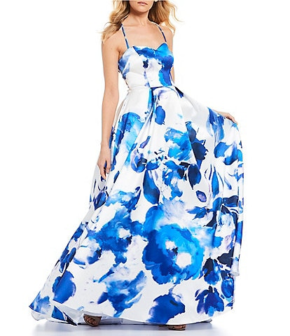 B. Darlin Floral Print Lace-Up Back Ball Gown
