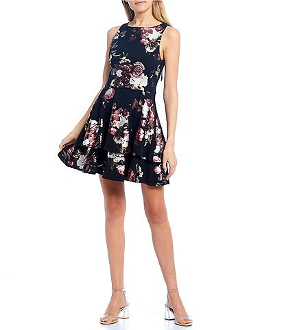 B. Darlin Foiled Floral Print Tie-Back Skater Dress