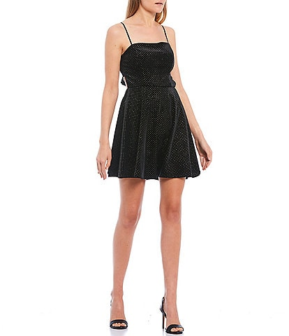 B. Darlin Glitter Dotted Velvet Tie-Back Fit-and-Flare Dress