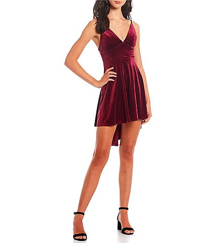 B. Darlin V-Neck Spaghetti Strap Tie-Back High-Low-Hem Fit And Flare Glitter Velvet Dress