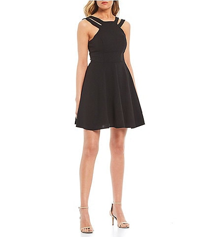 B. Darlin High Neck Double-Strap Skater Dress