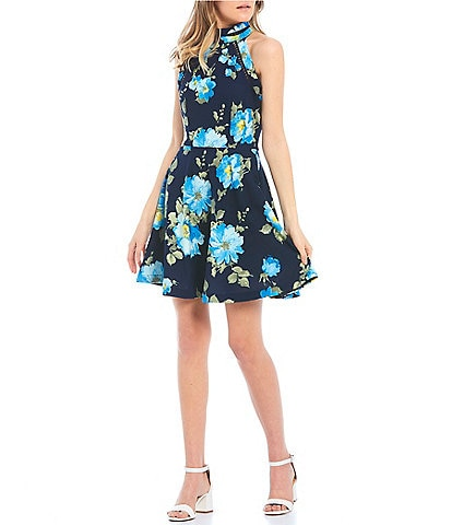 B. Darlin High Neck Floral Print Skater Dress