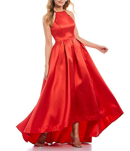 B. Darlin Halter Neck High-Low Hem Ball Gown