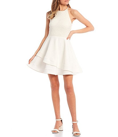 B. Darlin High-Neck Lace-Bodice Double Hem Fit-and-Flare Dress