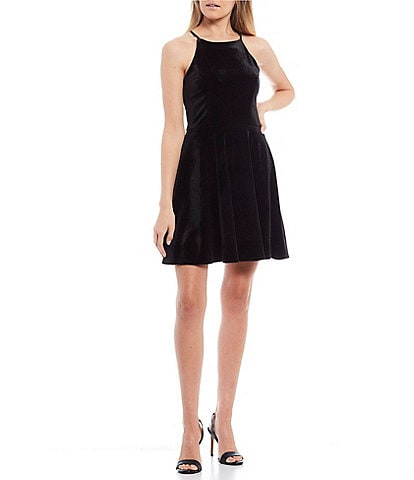 B. Darlin High Neck Velvet X-Back Skater Dress