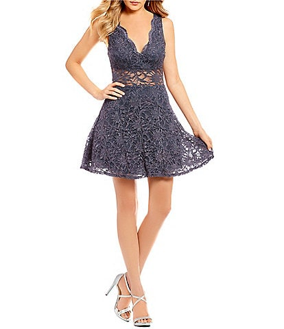 B. Darlin Illusion Waist Glitter Lace Fit-and-Flare Dress