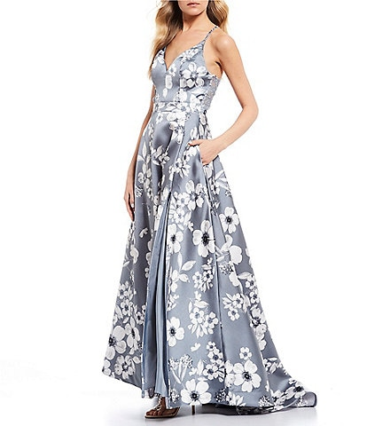 B. Darlin Lace-Bra-Back Side Slit Floral Print Ball Gown