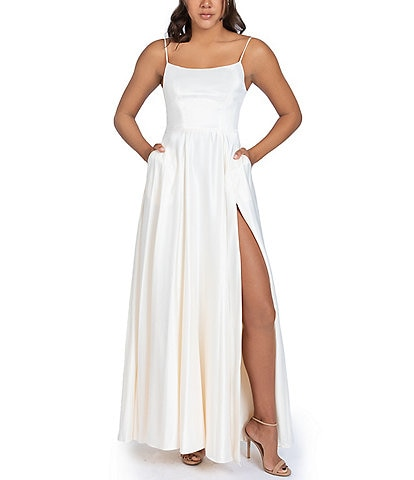 B. Darlin Lace-Up Back High Side Slit Satin Long Dress