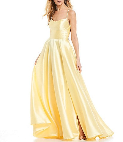 B. Darlin Lace-Up Back High Side Slit Satin Ball Gown
