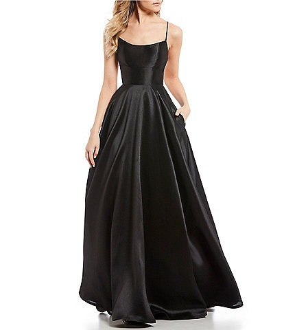 B. Darlin Lace Up Back Satin Long Dress