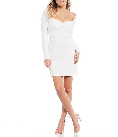 B. Darlin Long Sleeve Cinched-Front Dress
