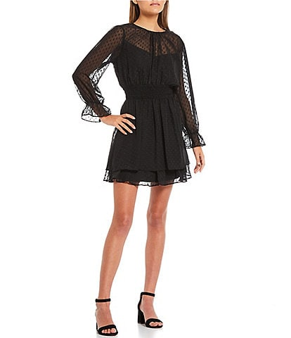 B. Darlin Long-Sleeve Clip-Dot-Overlay Fit-And-Flare Dress