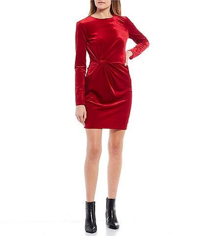 B. Darlin Long-Sleeve Knot-Side Velvet Sheath Dress