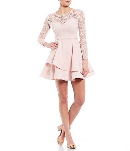 B. Darlin Long Sleeve Lace Double Hem Fit-and-Flare Dress