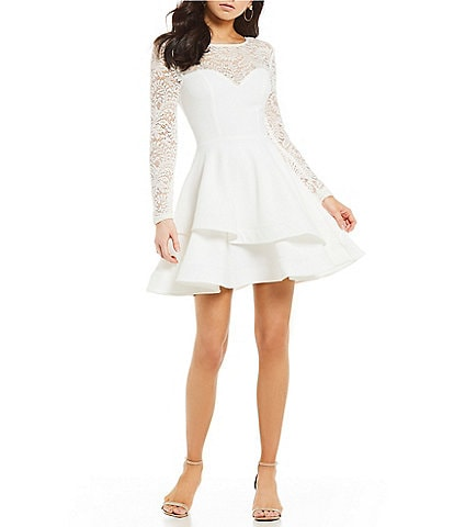 4f88edc2380 B. Darlin Long Sleeve Lace Double Hem Fit-and-Flare Dress