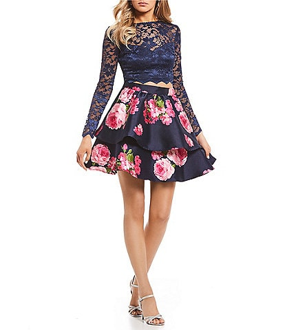 B. Darlin Long Sleeve Lace Top with Floral Skirt Two-Piece Dress