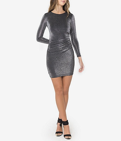 B. Darlin Long-Sleeve Metallic Knit Sheath Dress