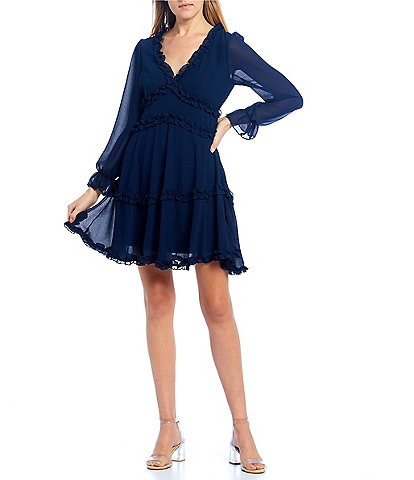 B. Darlin Long Sleeve Ruffle Detail A-Line Dress