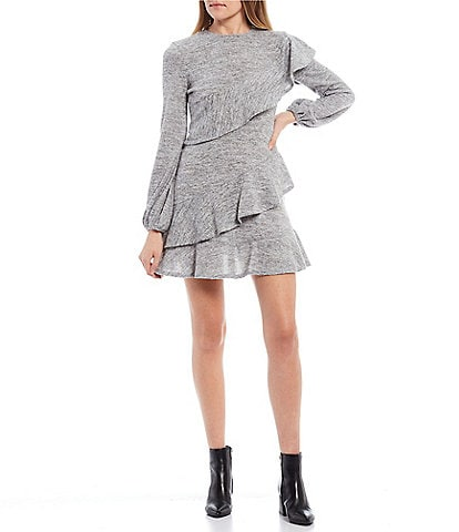 B. Darlin Long-Sleeve Ruffled Sweater Knit Dress